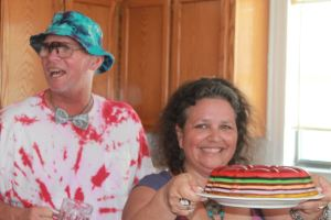 Wayne and Kathy and their tie-dyed wedding reception!