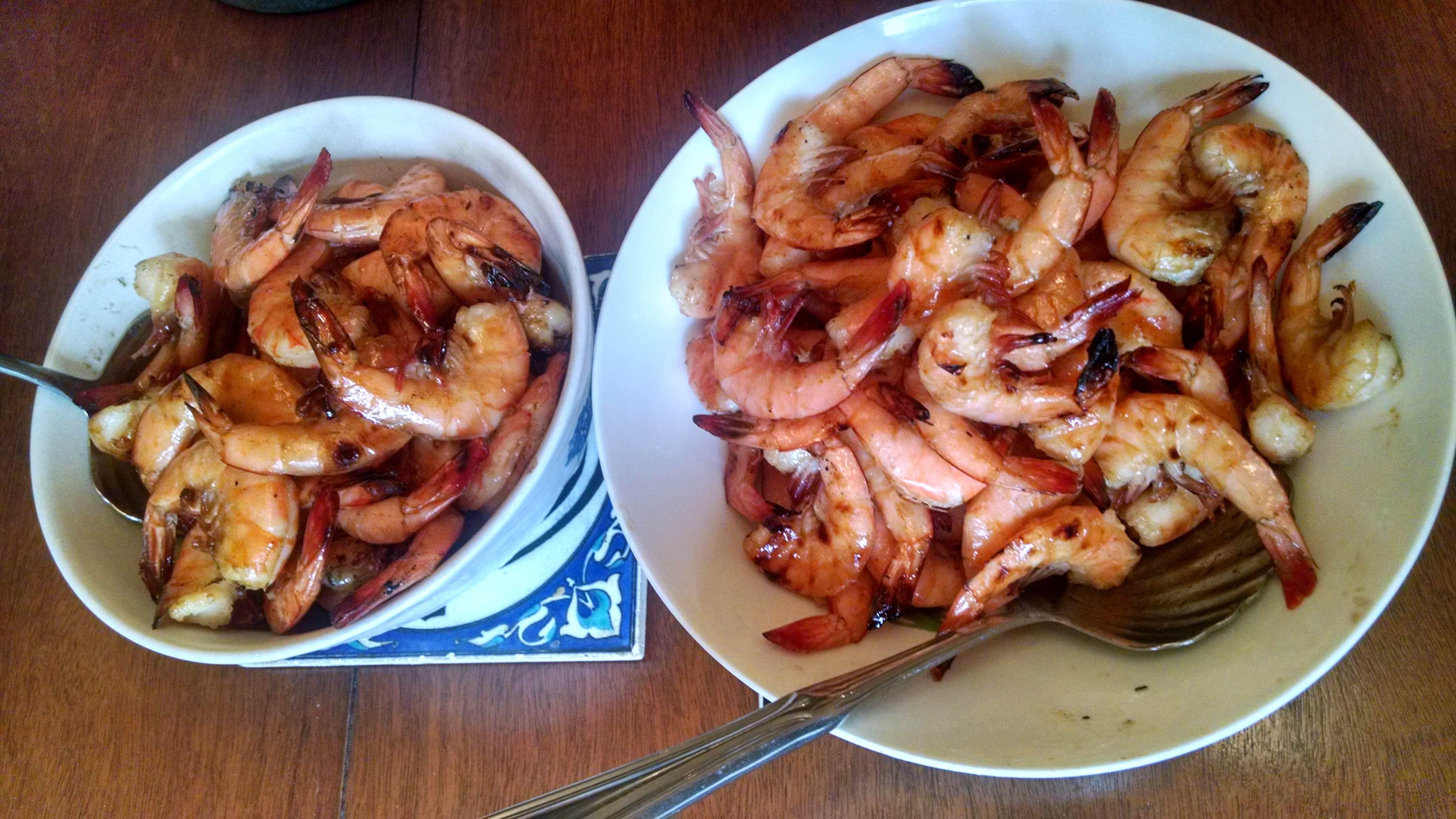 shrimp in bowls